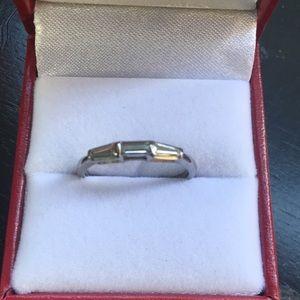 Jewelry - Vintage Diamond Platinum Engagement Ring Guard